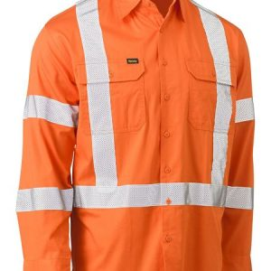 Bisley Hivis Biomotion Taped Drill Shirt - Orange