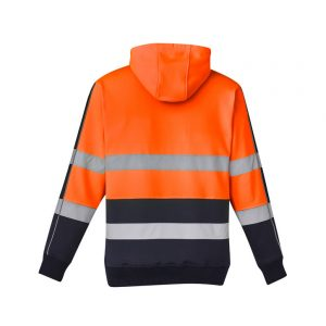 SYZMIK Unisex Hi Vis Stretch Taped Hoodie - Orange/Navy